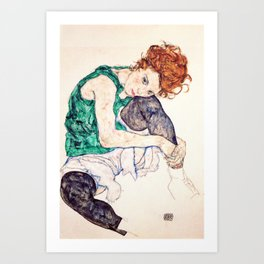 Egon Schiele - Seated Woman with Bent Knee Kunstdrucke