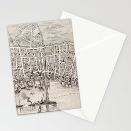 Vintage Pictorial Map of Newburyport MA (1894) Stationery Cards