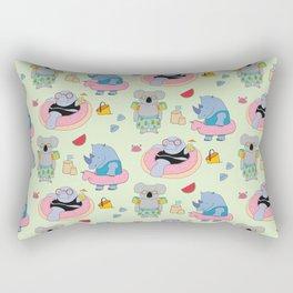 Beach animals - green Rectangular Pillow