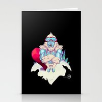snowboard Stationery Cards featuring Snowboard Yeti [black background] by garciarts
