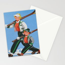 Mom and Son Skiers Vintage Art Stationery Cards