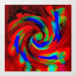 Red Blue Green Fireball Sky Explosion Canvas Print