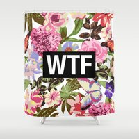 2pac Shower Curtains featuring WTF by Text Guy