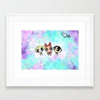 powerpuff girls Framed Art Prints featuring Powerpuff Girls by Mind of Bae