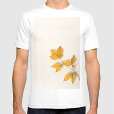 Yellow Beech Leaves White MEDIUM Mens Fitted Tee