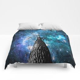 Wintry Trees Galaxy Skies Teal Blue Violet Comforters