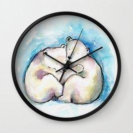 Polar Bear Cubs Watercolour Wall Clock