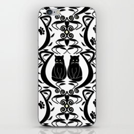 Midnight Cat Does Damask  iPhone Skin