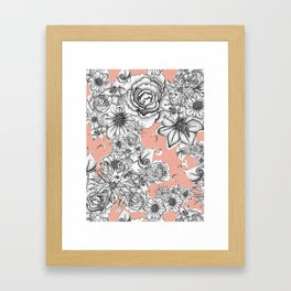 B&W Flowers Coral Framed Art Print
