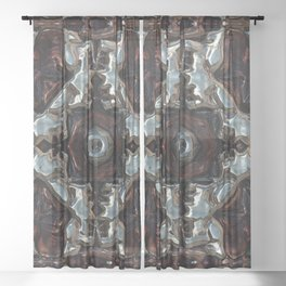 Blue and Copper Metallic Pattern Sheer Curtain
