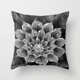 BnW Fractal Dahlia Flower via Electron Microscope Throw Pillow