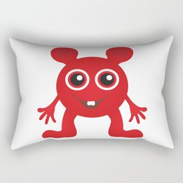 Red Smiley Man Rectangular Pillow