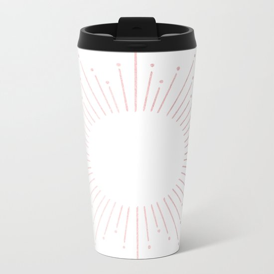Sunburst Rose Quartz Elegance on White Metal Travel Mug