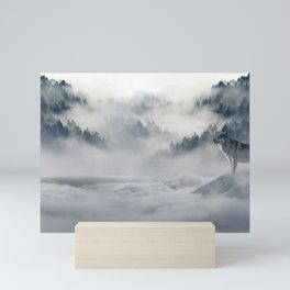 Wolves Among the Snowcapped Mountain Mini Art Print