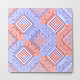 Colorful Blue And Red Geometric Shape Pattern Metal Print