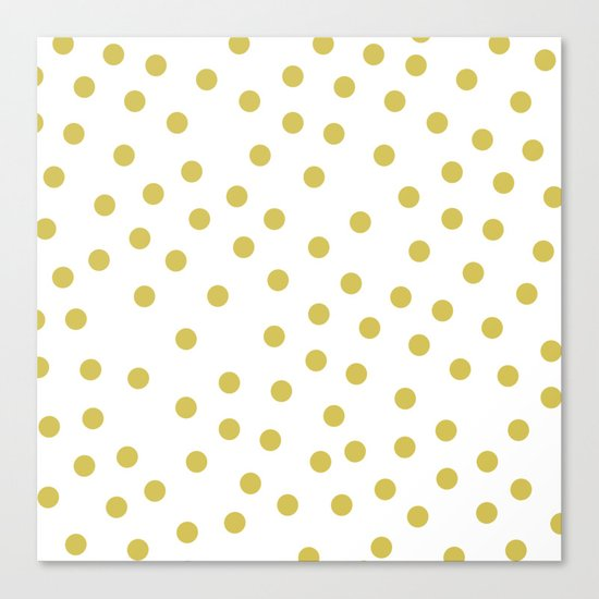 Simply Dots in Mod Yellow on White Canvas Print