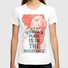 LEIA RESISTANCE X-LARGE White Womens Fitted Tee