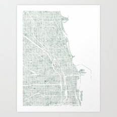 Map Chicago city watercolor map Art Print