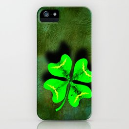 Four Leaf Clover on Green Textured Background iPhone Case