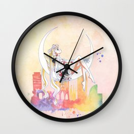 Can not Fight The Moonlight Watercolor Version Wall Clock