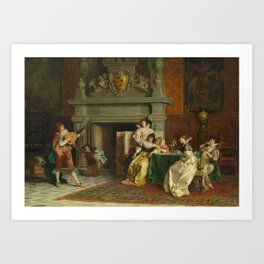 CONTI, TITO 1842 Florence 1924 The lute player. Art Print