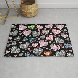 Heart Diamonds are Forever Love Black Rug