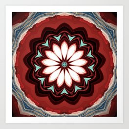 Decorative Deep Red and White Flower Design Art Print