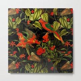 Vintage & Shabby Chic - Midnight Tropical Garden I Metal Print