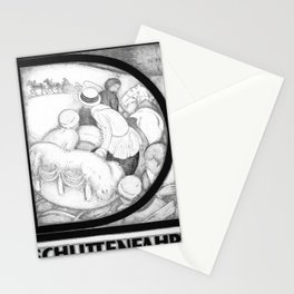 retro monochrome Schlittenfahrt Stationery Cards