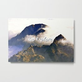 'Go Explore.' Mountains, Adventure, Wanderlust, Typography Metal Print