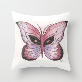 Ink and Watercolor Butterfly in rose colored tones Throw Pillow