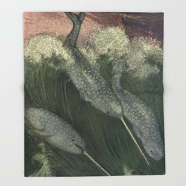 Vintage Narwhal Painting (1909) Throw Blanket