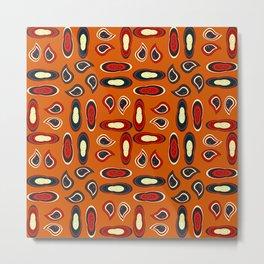 Orange paisley Metal Print