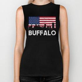 Buffalo NY American Flag Skyline Distressed Biker Tank