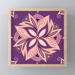 Purple and coral tile design called Figueres Framed Mini Art Print