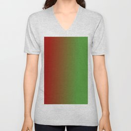 Ombre in Red Green Unisex V-Neck