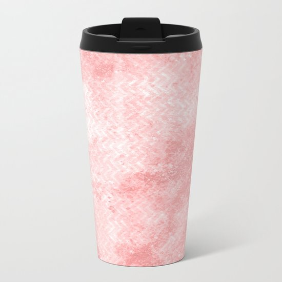 Rose quartz chevron pattern with grunge texture Metal Travel Mug
