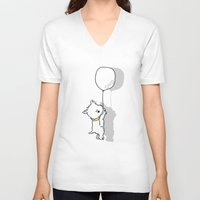 westie V-neck T-shirts featuring Hungry Westie Puppy by Lucy Olver