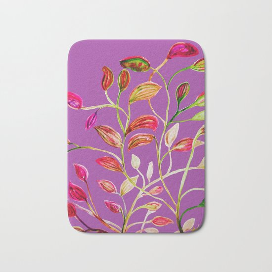 For Valentine's Day Enjoy Purple Plum, Red and Green Leaves! Bath Mat