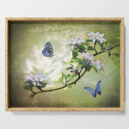 Butterflies and Apple Blossoms Serving Tray