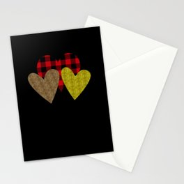 Heart Love Red Plaid Valentines Day Stationery Cards