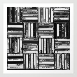 Music Cassette Stacks - Black and White - Something Nostalgic IV #decor #society6 #buyart Art Print
