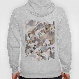 180630 Grey Black Abstract Watercolour Neutral 24 | Watercolor Brush Strokes Hoody