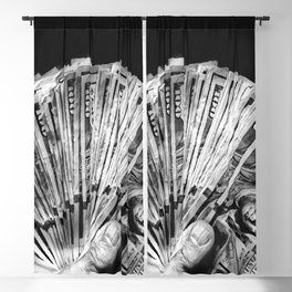 Money - Black And White Blackout Curtain