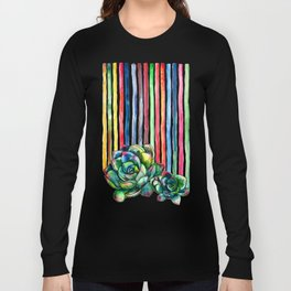 Rainbow Succulents - pencil & watercolor illustration Long Sleeve T-shirt