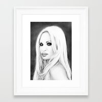 versace Framed Art Prints featuring Donatella Versace by Denda Reloaded