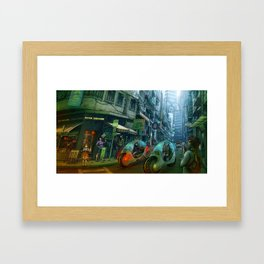 GREEN ROAD  -  city street scene Framed Art Print