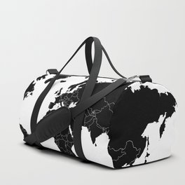 Minimalist World Map Black on White Background Duffle Bag