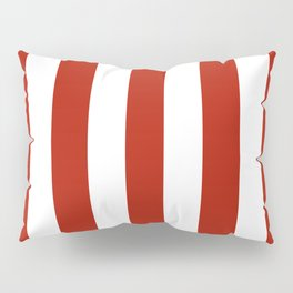 Tomato sauce red - solid color - white vertical lines pattern Pillow Sham