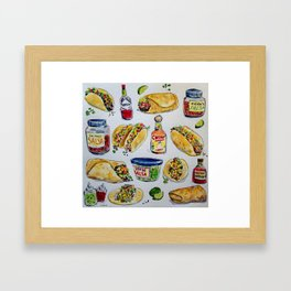 tacos burritos hot sauce and salsa Framed Art Print